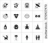 set of 16 editable kid icons.... | Shutterstock .eps vector #570927970