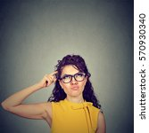 confused skeptical woman... | Shutterstock . vector #570930340