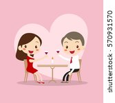 cute man and woman dinner in... | Shutterstock .eps vector #570931570