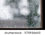 Water Drops On Glass In Rainy...