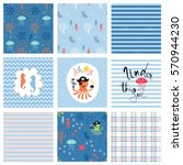kid's fashion seamless patterns ... | Shutterstock .eps vector #570944230
