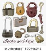 doodled set of different locks...   Shutterstock .eps vector #570946048