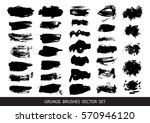set of black paint  ink  grunge ... | Shutterstock .eps vector #570946120