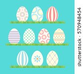 Easter Eggs  Vector Icons. Set...