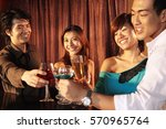 couples toasting  woman looking ... | Shutterstock . vector #570965764