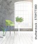 modern bright interior with... | Shutterstock . vector #570977380