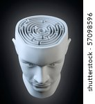 Stock photo male head with a labyrinth inside 57098596