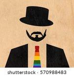 man wearing hat and rainbow tie ... | Shutterstock . vector #570988483