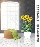 modern bright interior with... | Shutterstock . vector #570988933