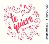 cute handwritten romantic happy ...   Shutterstock .eps vector #570990730