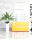 modern bright interior with... | Shutterstock . vector #570992809