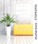 modern bright interior with... | Shutterstock . vector #570992953