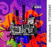 poster in pop art style. mumbai ... | Shutterstock .eps vector #571003660