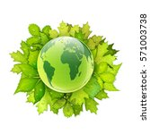 earth globe with green leaves... | Shutterstock .eps vector #571003738