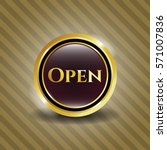 gold badge with open text icon...   Shutterstock .eps vector #571007836