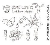 cosmetic bottles. organic... | Shutterstock . vector #571009168
