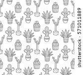 cactus seamless pattern... | Shutterstock . vector #571011889