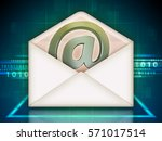 open mail envelope with an... | Shutterstock . vector #571017514