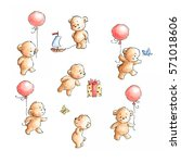 Stock photo set of seven teddy bears with hearts drawn in ink and watercolor 571018606