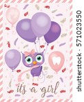 birthday card with a cute... | Shutterstock .eps vector #571023550