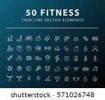 set of 50 minimal thin line... | Shutterstock .eps vector #571026748
