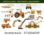 set of vector agricultural... | Shutterstock .eps vector #571036039