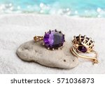jewelry earrings with gems on... | Shutterstock . vector #571036873
