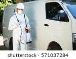 portrait of pest control man... | Shutterstock . vector #571037284
