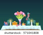 romantic dinner.table with a... | Shutterstock .eps vector #571041808