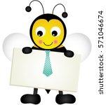 bee holding blank signboard   | Shutterstock .eps vector #571046674