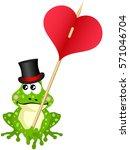 cute frog holding heart  | Shutterstock .eps vector #571046704