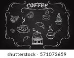 coffee icon set  drawn in chalk ... | Shutterstock .eps vector #571073659