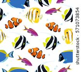 tropical reef fish colorful... | Shutterstock .eps vector #571073854