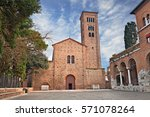 Small photo of Ravenna, Emilia Romagna, Italy: the medieval St. Francis (San Francesco) basilica where the poet Dante Alighieri is buried in a tomb annexed to the church