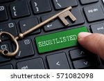 closed up finger on keyboard... | Shutterstock . vector #571082098