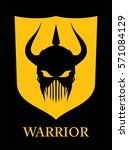 warrior head  black horned... | Shutterstock .eps vector #571084129