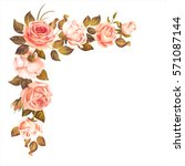 Stock vector beautiful rose garland isolated on white vector illustration 571087144