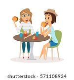 female friends eating fast food ... | Shutterstock .eps vector #571108924