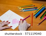 the girl writes a... | Shutterstock . vector #571119040