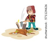 gorilla lumberjack cutting... | Shutterstock .eps vector #571124626