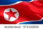 North Korea Flag. Waving...