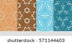 set of flower  geometric...   Shutterstock .eps vector #571144603