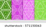 set of original floral  linear... | Shutterstock .eps vector #571150063