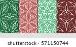 set of color floral  linear... | Shutterstock .eps vector #571150744