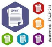 contract icons set rhombus in... | Shutterstock .eps vector #571154248