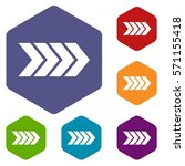 striped arrow icons set rhombus ... | Shutterstock .eps vector #571155418