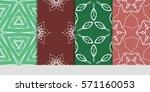 set of color floral  linear...   Shutterstock .eps vector #571160053