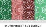 set of flower  geometric... | Shutterstock .eps vector #571168624