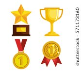 set trophies competition awards | Shutterstock .eps vector #571173160