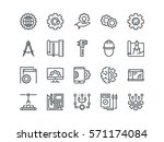 engineering. set of outline... | Shutterstock .eps vector #571174084